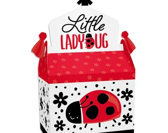 KIT Ladybug Baby Shower Treat Boxes  Party Favor  Candy Box  Game Prizes Co-workers  Classroom Treat  Church Treats Kids
