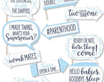 Twin Baby Shower Photo Props Double the fun