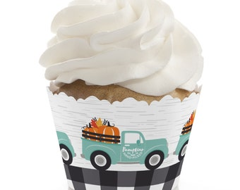 Happy Fall Truck - Harvest Pumpkin Party Decorations - Party Cupcake Wrappers - Set of 12