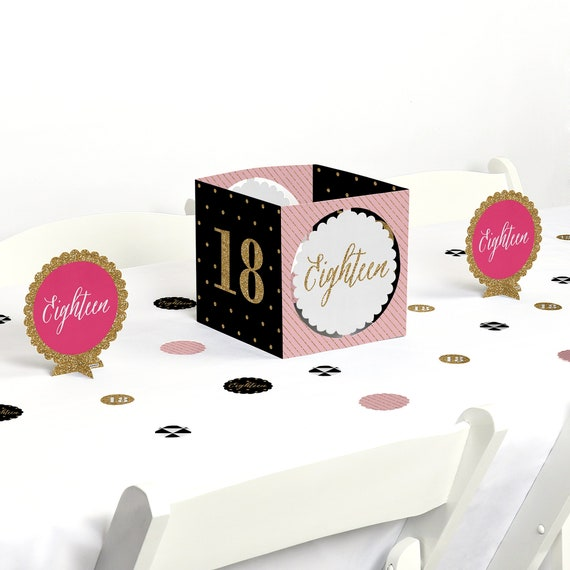 Chic 18th Birthday Party Centerpiece Table Decoration Kit Chic Pink Black Gold 39 Piece Set By Big Dot Of Happiness Catch My Party
