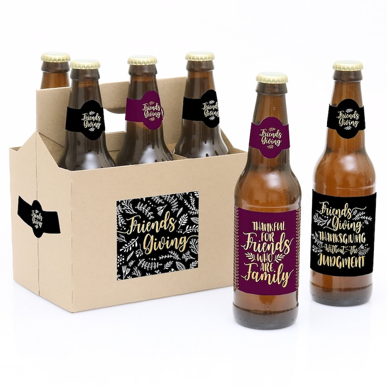 Elegant Thankful for Friends Thanksgiving Dinner Gifts for Women and Men 6 Beer Bottle Labels /& 1 Carrier Friendsgiving Gift