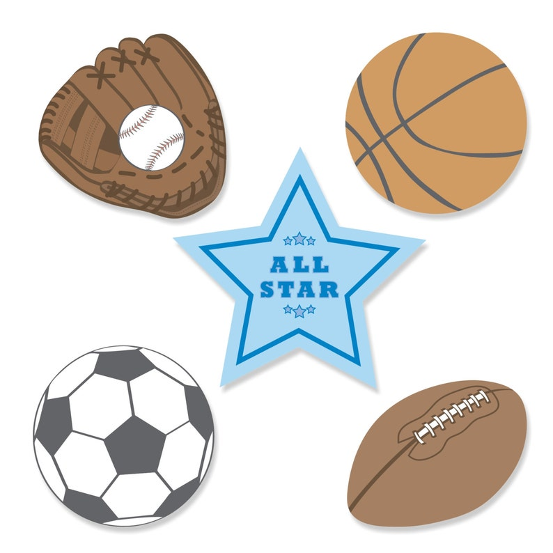 Small All Star Sports DIY Shaped Paper Cut Outs 24 pc Baby Shower or Birthday Party Die Cut Decoration Kit