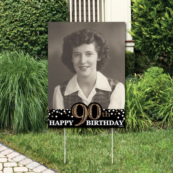 Adult 90th Birthday Gold Photo Yard Sign Outdoor Lawn