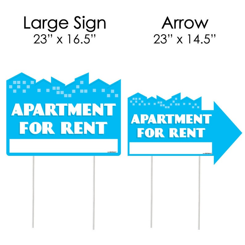 Set of 3 Apartment for Rent Weather Resistant Corrugated Plastic Sign Yard Sign with Stakes Double Sided Outdoor Lawn Sign