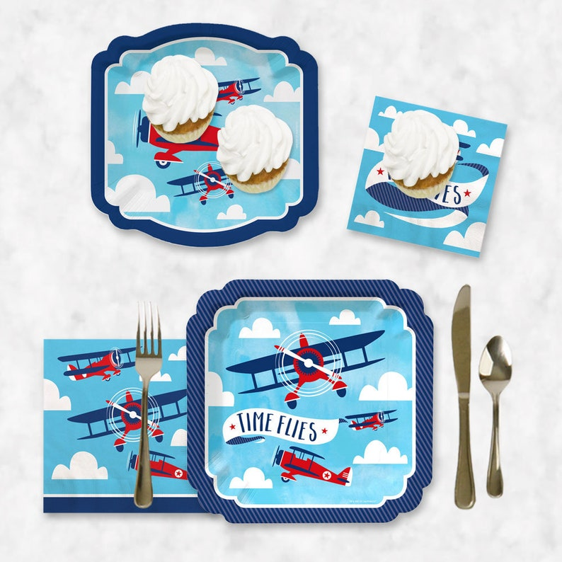 Vintage Plane Baby Shower or Birthday Party Tableware Plates and Napkins Airplane Party -32 piece place setting Taking Flight Airplane