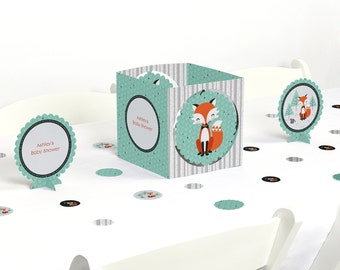 Fox Centerpiece & Table Decoration Kit - Mr. Foxy Fox Party Supplies - Baby Shower and Birthday Party Decorations - 39 Piece Set