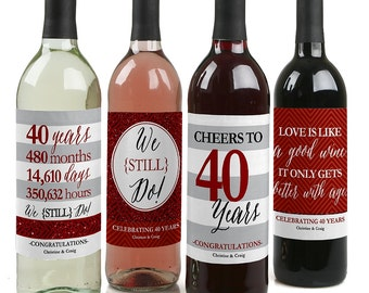 We Still Do - 40th Anniversary Wine Bottle Labels for Anniversary Parties - Set of 4 Sticker Labels