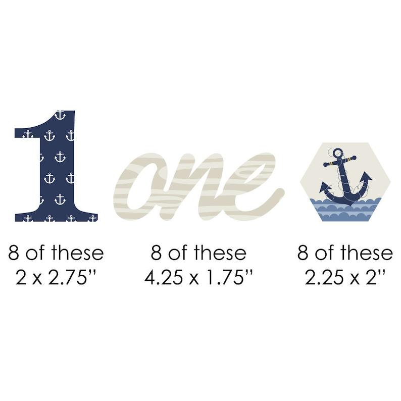 24 pc 1st Birthday Ahoy Nautical DIY Shaped Paper Cut Outs Nautical First Birthday Small Die Cut Decorations
