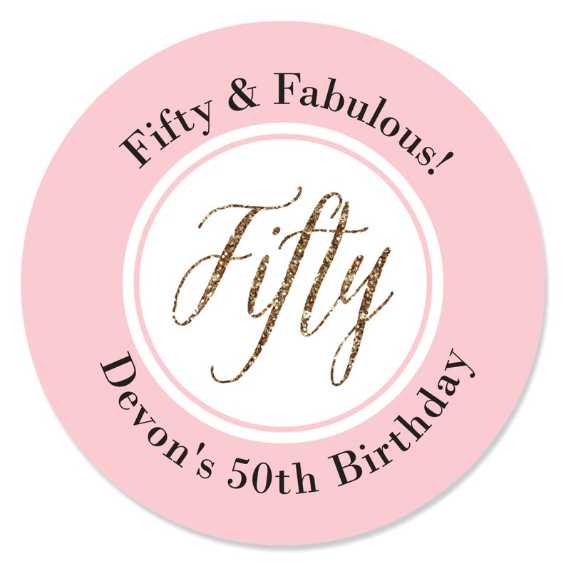 12 Count Chic 50th Birthday Candle Tin Party Favors Pink and Gold