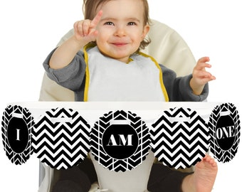 Chevron Black and White - 1st Birthday - I Am One - First Birthday High Chair Banner - First Birthday Party Decorations