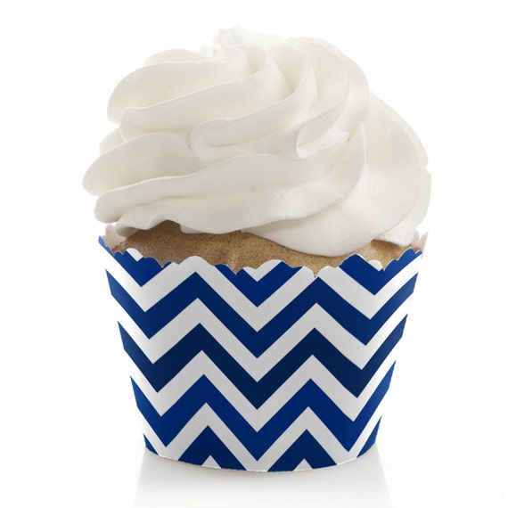 6992022775ee Chevron Navy Baby Shower Cupcake Decorations and Supplies