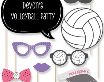 20 Bump, Set, Spike - Volleyball Photo Booth Props - Volleyball Photobooth Kit with Custom Talk Bubbles for Team Events or Parties