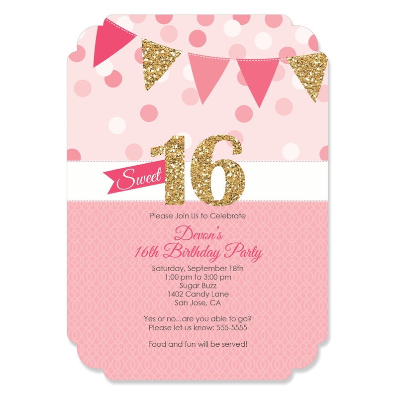 Sweet 16 Birthday Invitations Personalized Party