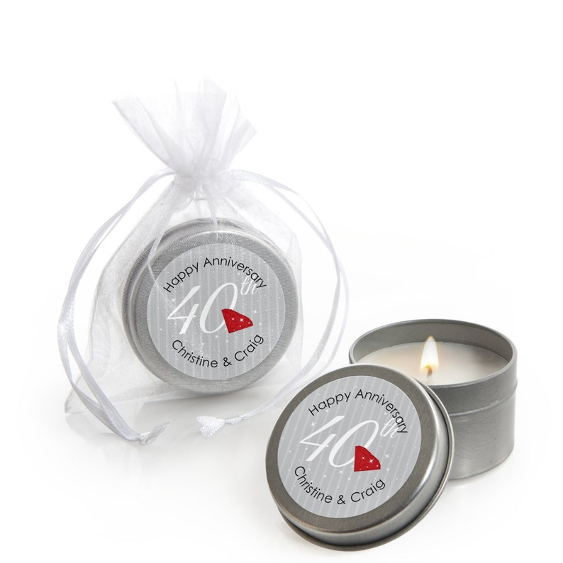 12 Count 40th Anniversary Candle Tin Party Favors