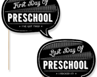 Preschool First Day & Last Day of School Photo Props - Preschool Photo Booth - Back to School Photo Prop - 2 Talk Bubbles