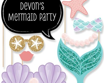 20 Photo Booth Props - Let's Be Mermaids Photobooth Kit W/Custom Talk Bubbles - Under The Sea Baby Shower or Birthday - Our Little Mermaid