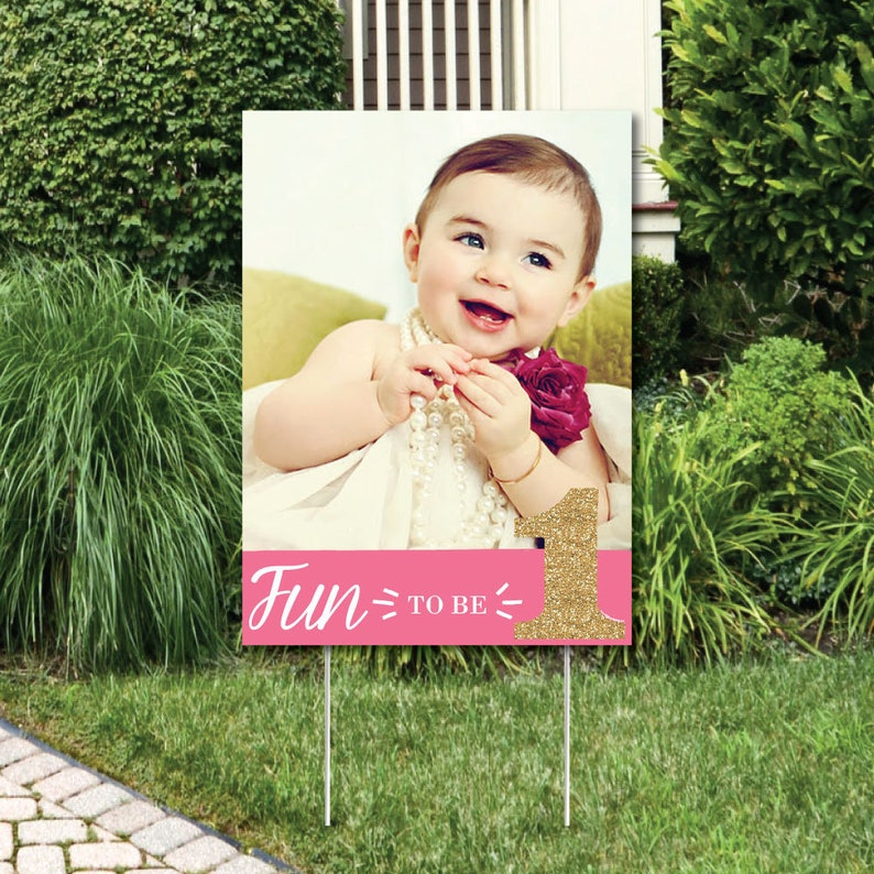 1st Birthday Girl Fun To Be One Photo Yard Sign Outdoor