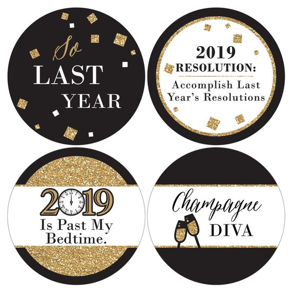 New Year\'s Eve Gold Name Badges Funny Name Tag | Etsy