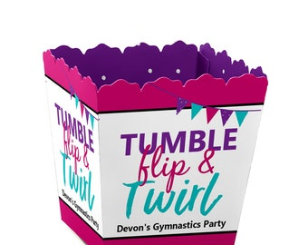 Tumble, Flip & Twirl - Gymnastics - Party Mini Favor Boxes - Personalized Gymnast Party Candy Box - Birthday Party Favor Box - 12 Ct