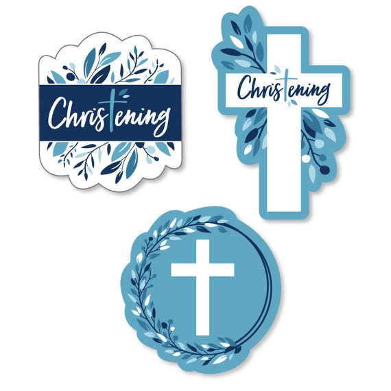 20 Piece Boy Religious Party Photo Booth Props Kit Christening Blue Elegant Cross