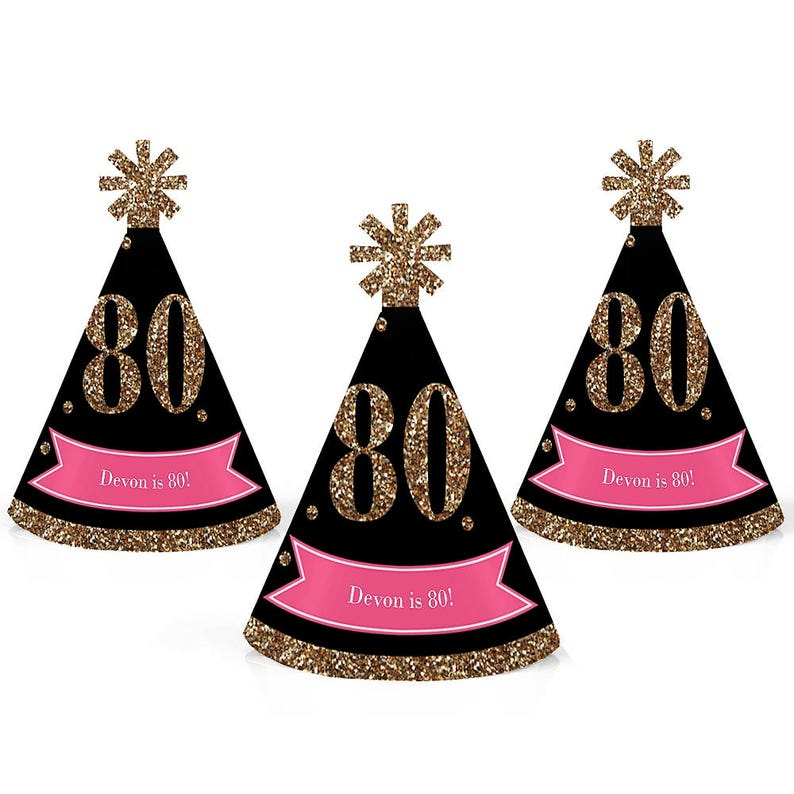 80th Birthday Party Personalized Mini Cone Hats