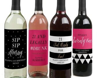 21st Birthday Wine Bottle Labels - Custom Finally 21st Girl Birthday Wine Bottle Labels - Funny Personalized Wine Gift for Women - Set of 4