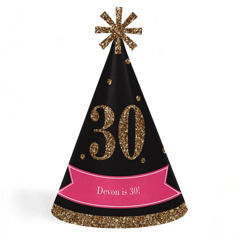 Chic 30th Birthday Pink Black And Gold Party Hats Cone
