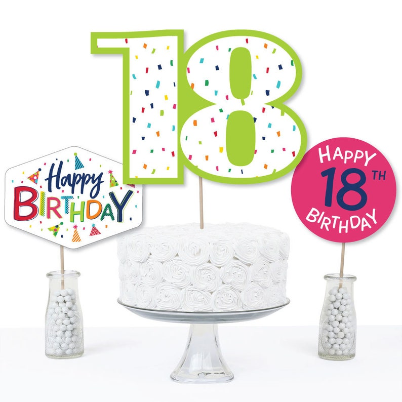 Cheerful Happy Birthday 18th Birthday Colorful Birthday Party Table Toppers Centerpiece Sticks 15 Ct Centerpiece Party Supplies
