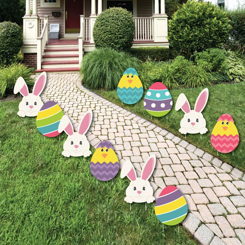 Easter Bunny Egg Yard Decorations Outdoor Easter Lawn Etsy