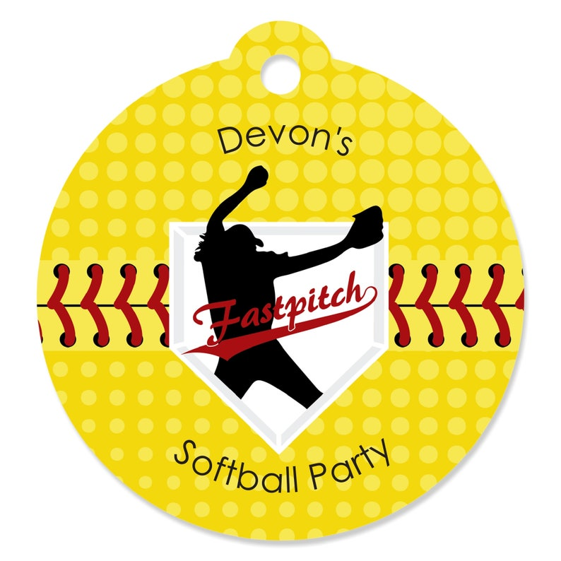 Fastpitch Softball Party Happy Birthday Banner Sign