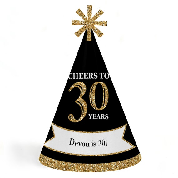 30th Birthday Party Hats Adult Gold Cone