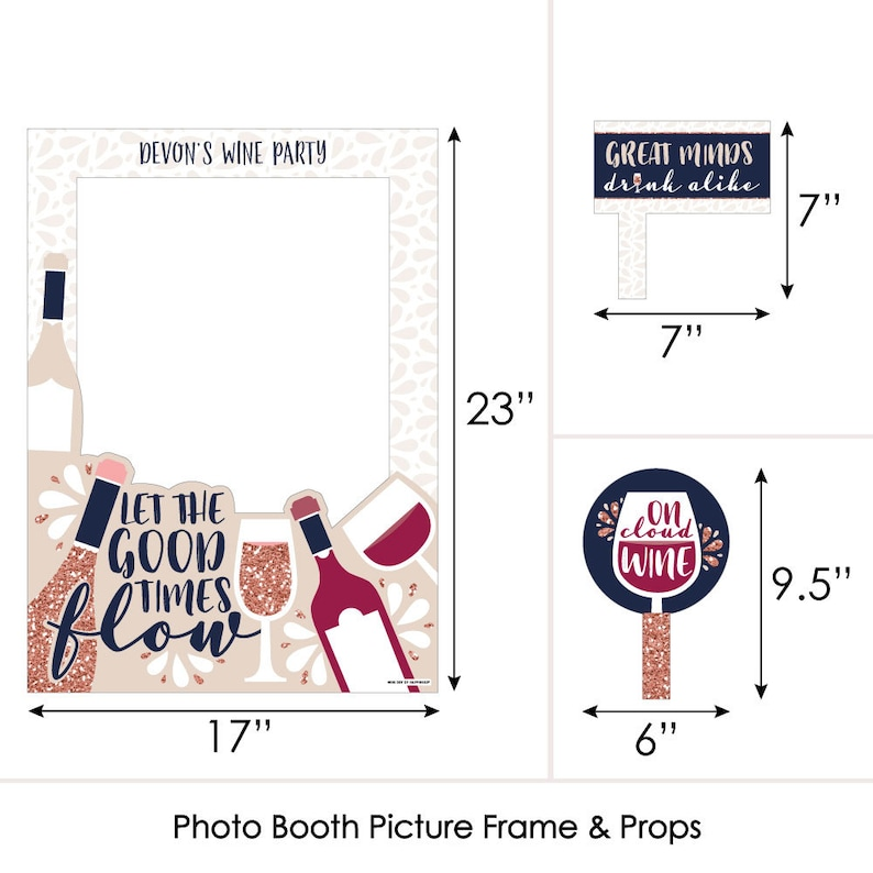 But First Printed on Sturdy Material Wine Personalized Wine Tasting Party Selfie Photo Booth Picture Frame and Props
