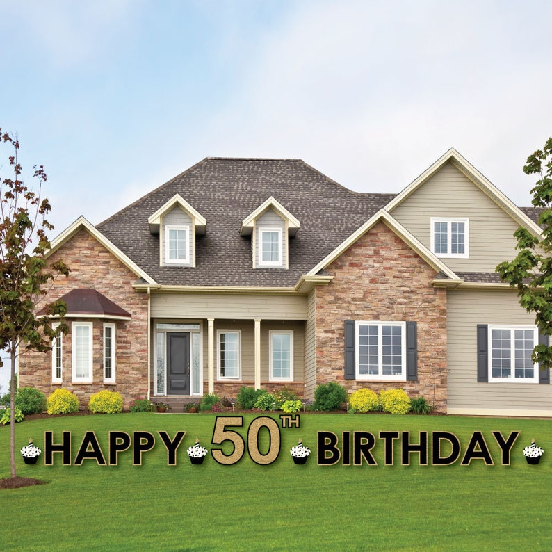 50th Birthday Yard Sign Outdoor Lawn Decorations