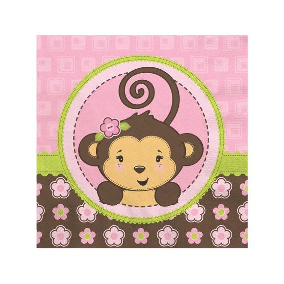 Pink Monkey Girl Beverage Napkin Baby Shower Or Birthday Etsy