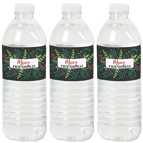 Merry Christmas Waterproof Water Bottle Labels