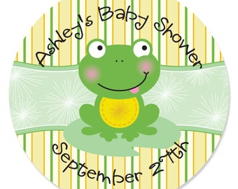 Froggy Frog - Circle Stickers - Personalized Baby Shower and Birthday Party DIY Craft Supplies - 24 Ct.