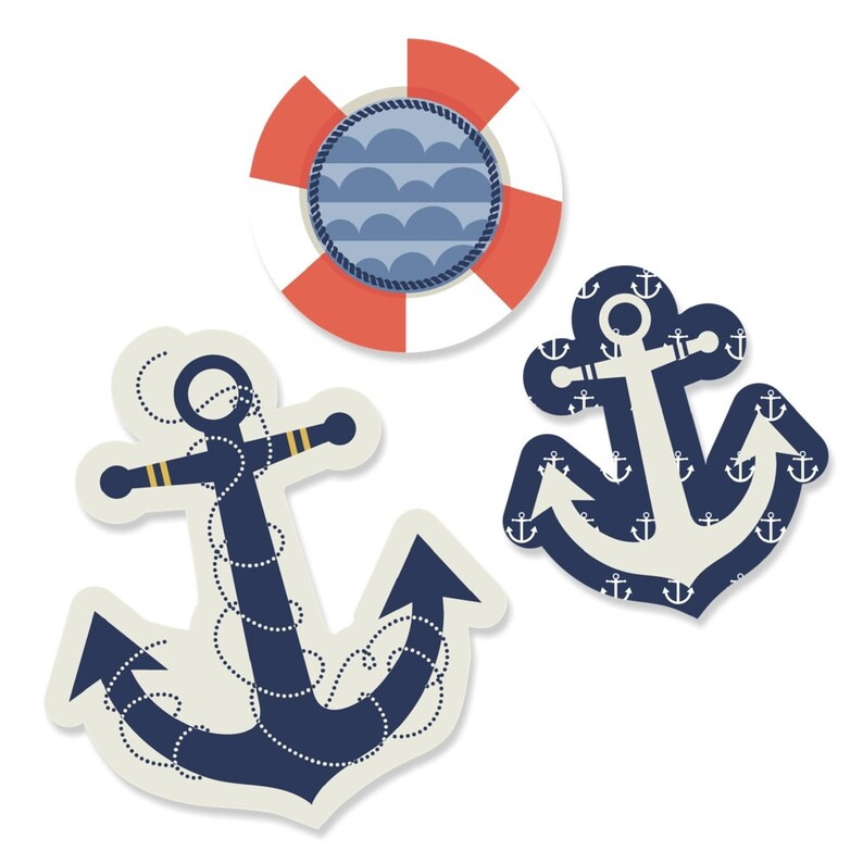 Die Cut Party Decoration Kit for Baby Shower Birthday Party and Bridal Shower Small Ahoy Nautical Anchor DIY Shaped Paper Cut Outs 24 pc