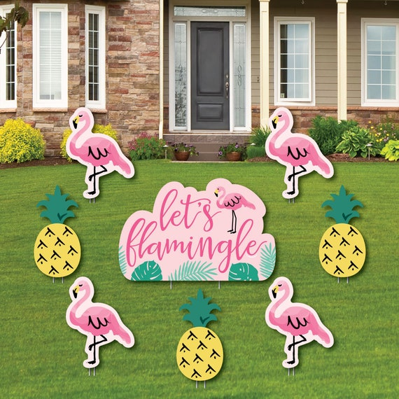 Pink Flamingo Shaped Lawn Decorations Tropical Summer Outdoor