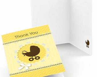 Neutral Baby Carriage Thank You Cards - Baby Shower Thank You Cards - Yellow Baby Carriage Thank You's - Set of 8 Folding Note Cards