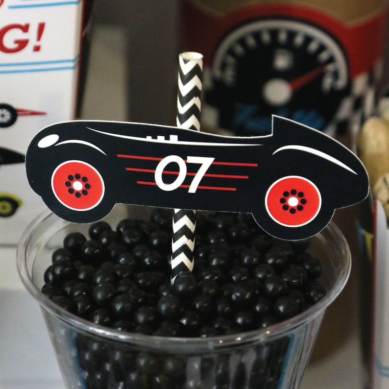 Racecar Race Car Baby Shower or Birthday Party Paper Cut-Outs /& Striped Paper Straws Die-Cut Straw Decorations 24 Ct Let/'s Go Racing