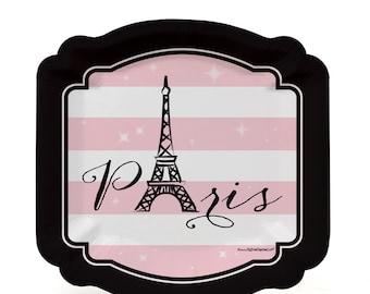 8 Count - Paris, Ooh La La Dessert Plates - Baby Shower or Birthday Party Supplies