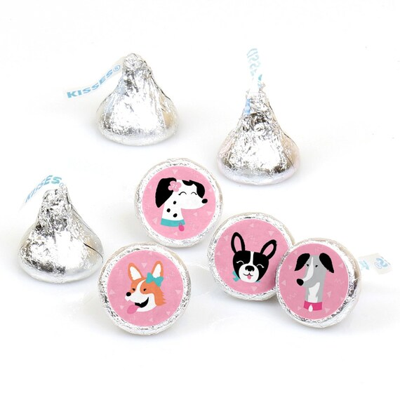 108 PUPPY DOG Birthday Party Favors Stickers Labels for Hershey Kiss