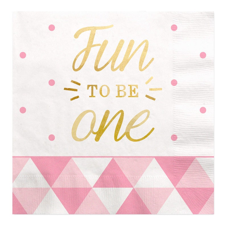 Fun to Be One Tableware Pink Dinner Napkins 16 ct First Birthday Girl Gold Foil Print Luncheon Napkins 1st Birthday Party Supplies