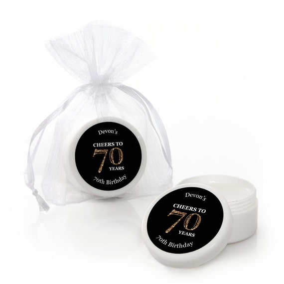 70th Birthday Lip Balm Party Favors