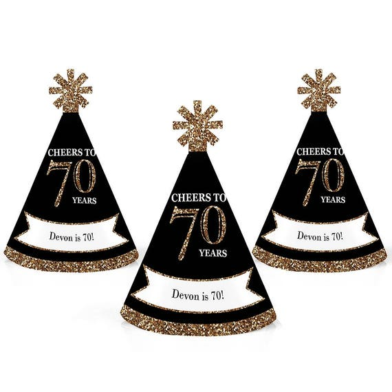 70th Birthday Party Personalized Mini Cone Hats
