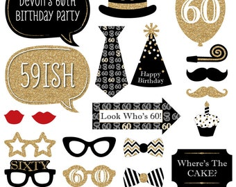 60th Birthday - Gold Party Photo Booth Props - Adult Birthday Party Photobooth Kit with Custom Talk Bubble - 20 Pieces