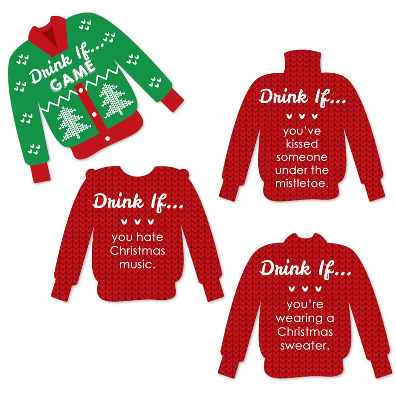 Ugly Sweater Christmas.Drink If Ugly Sweater Christmas Party Game Holiday Office Party Drinking Game Tacky Sweater Party Game Ideas 24 Party Game Cards