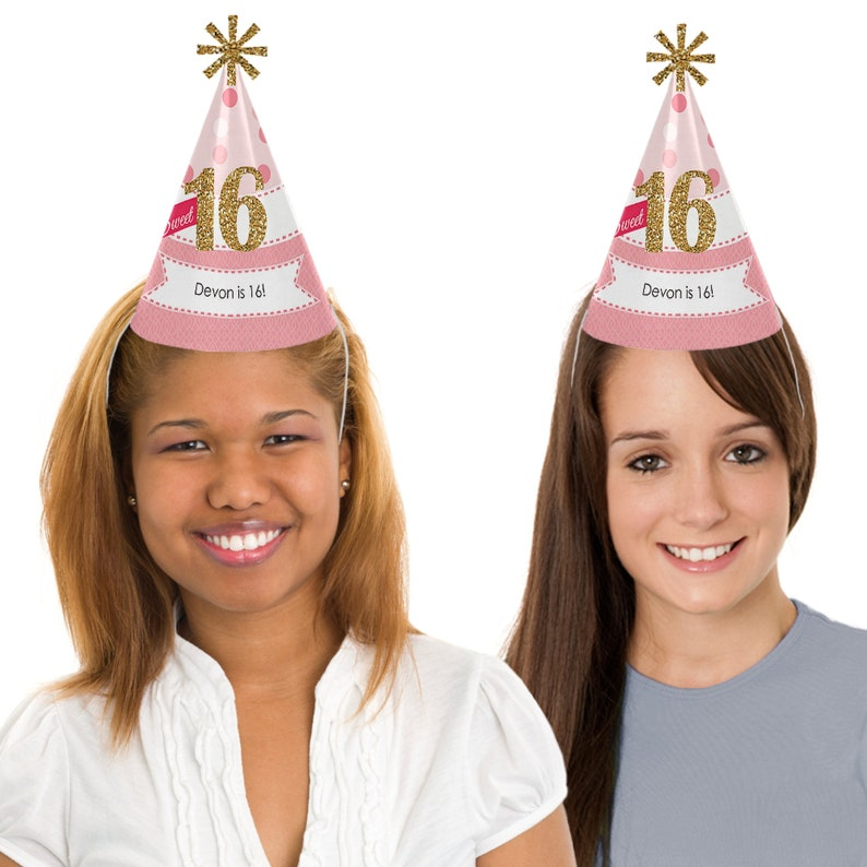 Set of 8 Cone Happy Birthday Party Hats for Kids and Adults Sweet 16 Birthday Party Hats Standard Size