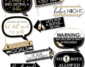 Bride Tribe - Funny Bachelorette Party Photo Booth Props - Black and Gold Bridal Shower Party Photo Booth Prop Kit - 10 Props & Dowels