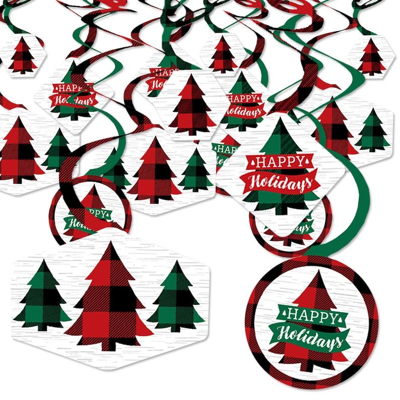 Set of 40 Buffalo Plaid Christmas Party Hanging Decor Party Decoration Swirls Holiday Plaid Trees